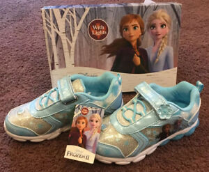 Disney-Frozen-II-Tennis-Shoes-Sneakers-with-Lights-Size-Toddler-12-Blue-Silver