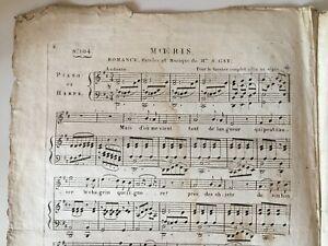 Spartito Meoris Delphine Gay Di Girardin Piano Arpa Ph: Petit XIX Secolo