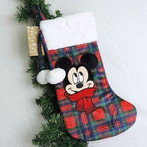DISNEY-Weihnachts-Strumpf-MICKEY-MOUSE-kariert-Christmas-Nikolaus-Kamin-Xmas