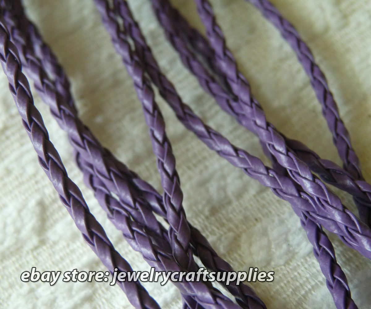 c59eff73e Braided Faux Leather Cord Necklace with Clasp, Finished String Black /  Purple + Extension Chain