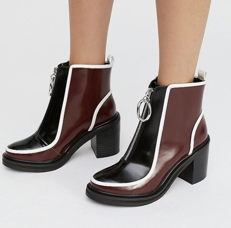 NEW Shelly's black wine Leather Front Zip Platform Ankle Boot 39   8.5