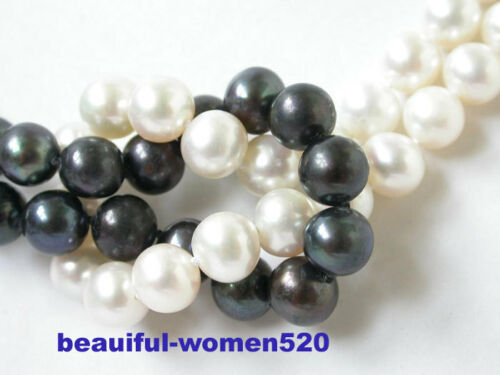 N1079 2row 8 mm Rond noir blanc d/'eau douce collier de perles