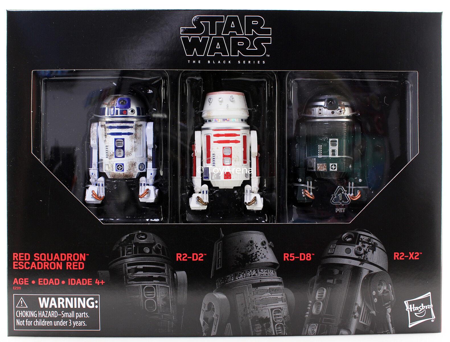 Guerra DE LAS GALAXIAS la serie negra 6 Rojo escuadrón R2-D2 astromec 3 Paquete de EE. UU. en Stock