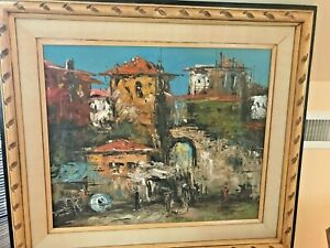 """MAGNIFICENT VINTAGE OIL, SPANISH INFLUENCE, IN SUPERB FRAME (27"""" X 32"""")"""