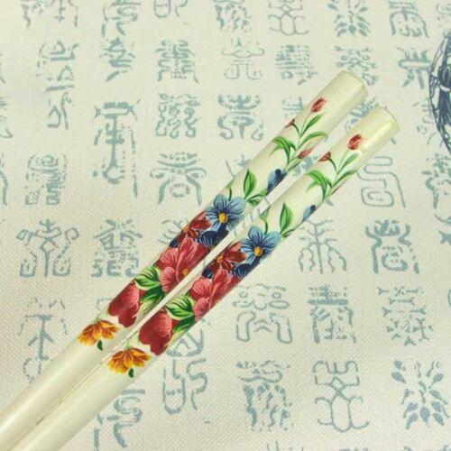 2PCS Handmade Printed Hair Stick Vintage Colorful Natural Wood Japanese Hairpin