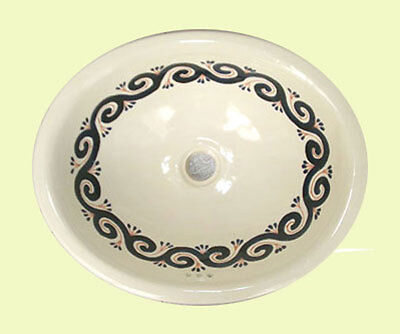 #136 LARGE BATHROOM SINK 21X17 MEXICAN CERAMIC HAND PAINT DROP IN UNDERMOUNT