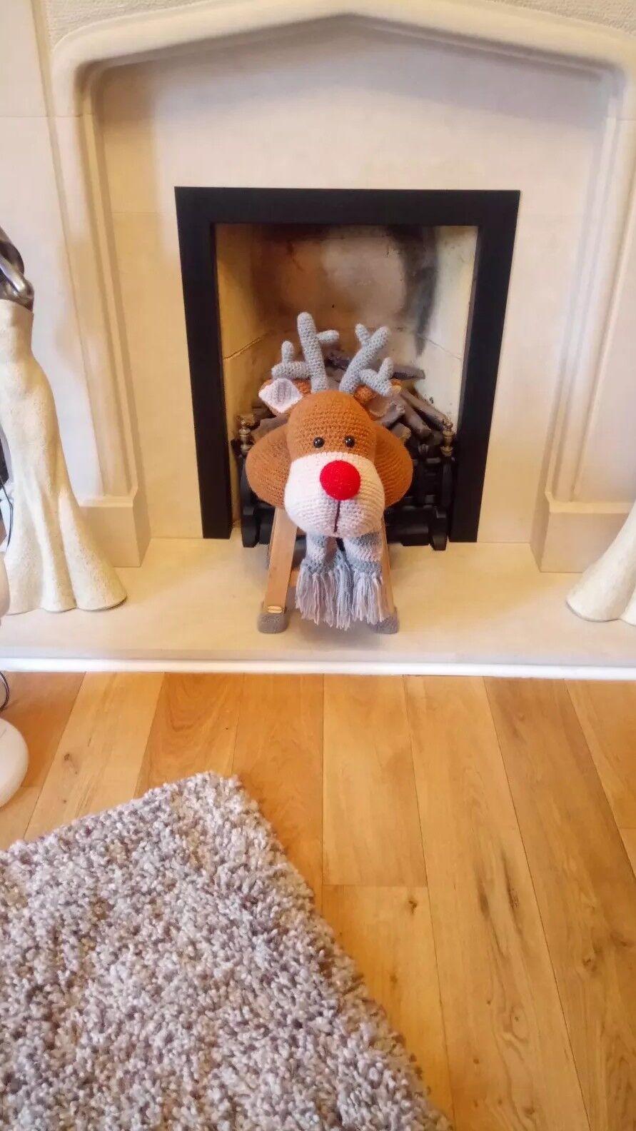 Sgabello Renna Rudolph Natale Natale Natale all'uncinetto fatti a mano 8c6eab
