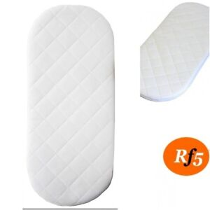 MOSES BASKET FOAM MATTRESS BABY PRAM OVAL BREATHABLE QUILTED 80 x 34 x 3.5 CM