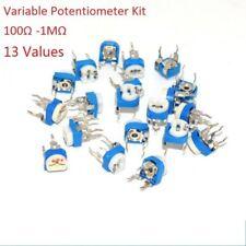 13 Values 100 Ohm 1m Ohm Horizontal Variable Potentiometer Trimmer Resistor Kit