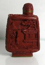 Snuff-Bottle, Rotlack-Dekor, chines. gemarkt, H-6 cm, (243/10017)