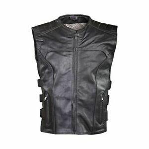 Motorcycle Harley Biker Swat Style Vest Mens Premier Grade Milled Leather Black