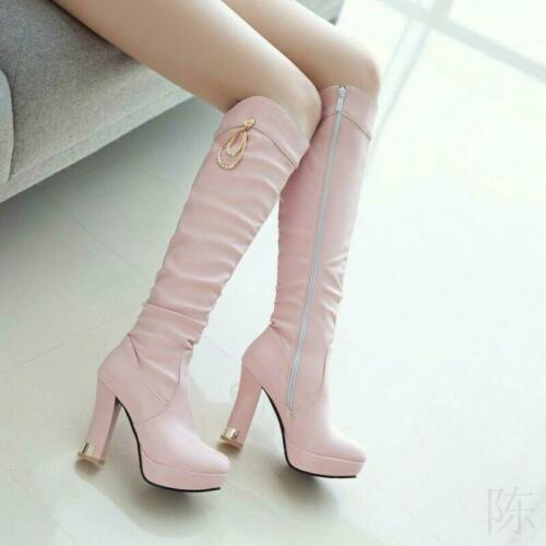 Lady Womens Cute Ruched Slouch Thigh High Block Heels Knee High ThighBoots Shoes