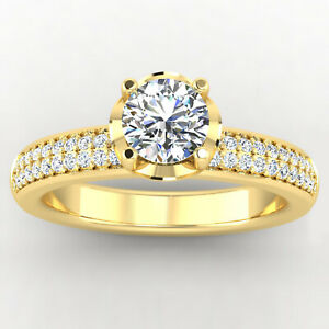 0.86 Ct Round Cut Moissanite Engagement Superb Ring 18K Solid Yellow Gold Size 9