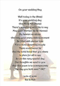 Details About Bride And Groom Gift Poem Wedding Keepsake A4 Laminated Personalised