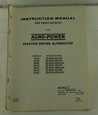 Vintage ARGO-POWER Tractor Driven Alternator Instruction Manual & Parts Catalog