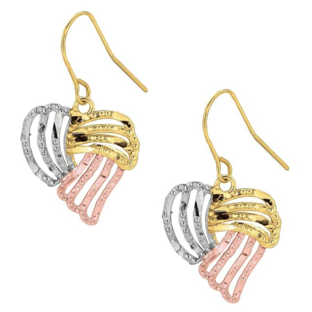 10K Yellow and White and Rose Gold Diamond Cut Open Tear Drop Tri-Color Fancy Earring
