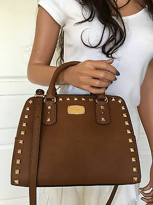 Michael Kors Saffiano Leather Small Satchel Crossbody Purse Bag Brown Gold Stud