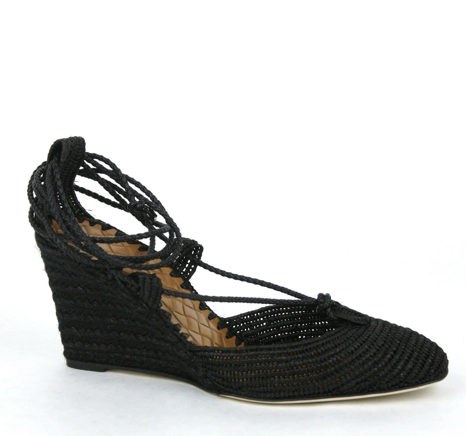 840 New Bottega Veneta Straw Wedge Sandal w Ankle String Black 337829 1000