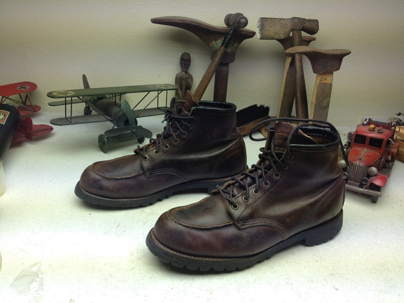 VINTAGE BROWN MADE IN USA RED WING DISTRESSED ENGINEER BOSS WORK BOOTS 11.5 D