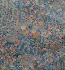 Japanese vintage kimono silk fabric Tea Houses and Flowers