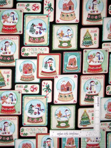 Christmas Snowman Gingerbread Snowglobes Cotton Fabric Benarex #4576 Yard