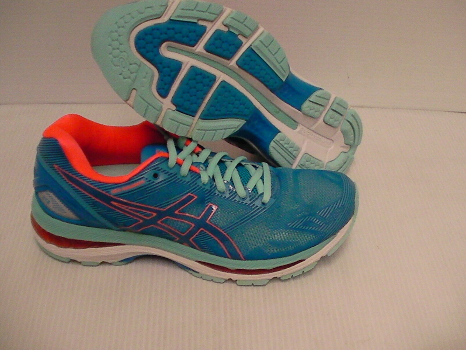 Asics women's gel nimbus 19 running shoes diva blue flash coral size 10 us Casual wild