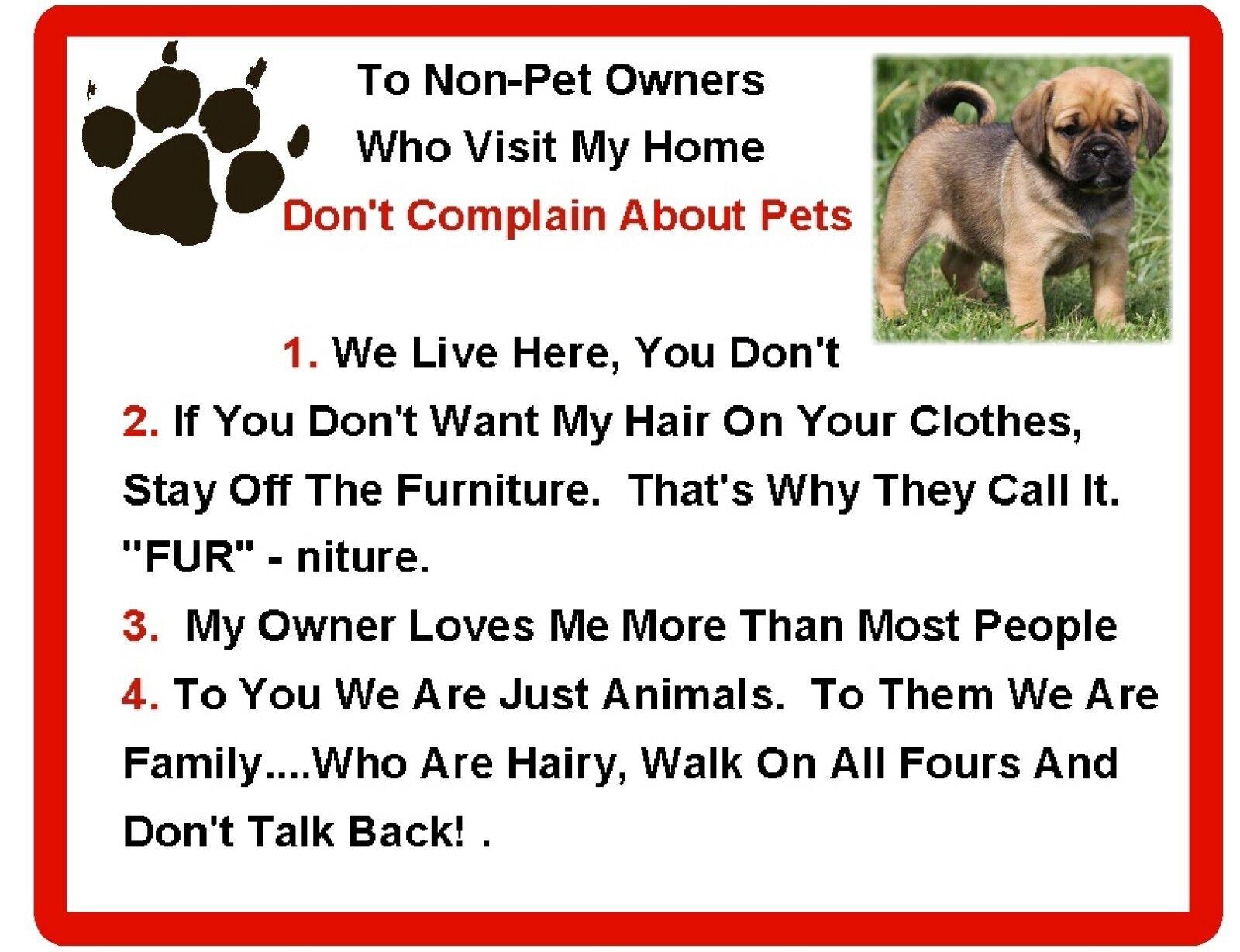 Magnet Gift Card Idea Funny Dog Puggle House Rules Refrigerator
