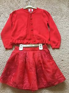 Janie-and-Jack-red-Floral-Organza-Adjustable-Skirt-Fleurish-Girl-jacket-Size-5-6