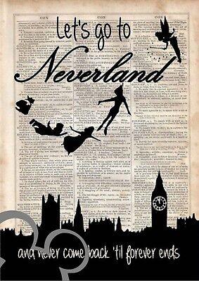 nursery gift, picture Disney Peter Pan art print A4 poster