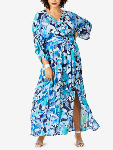 Crinkle Print robe robe d/'été bleu Taille 42 44 46 48 50 52 54 56 58 60 62 64 #1