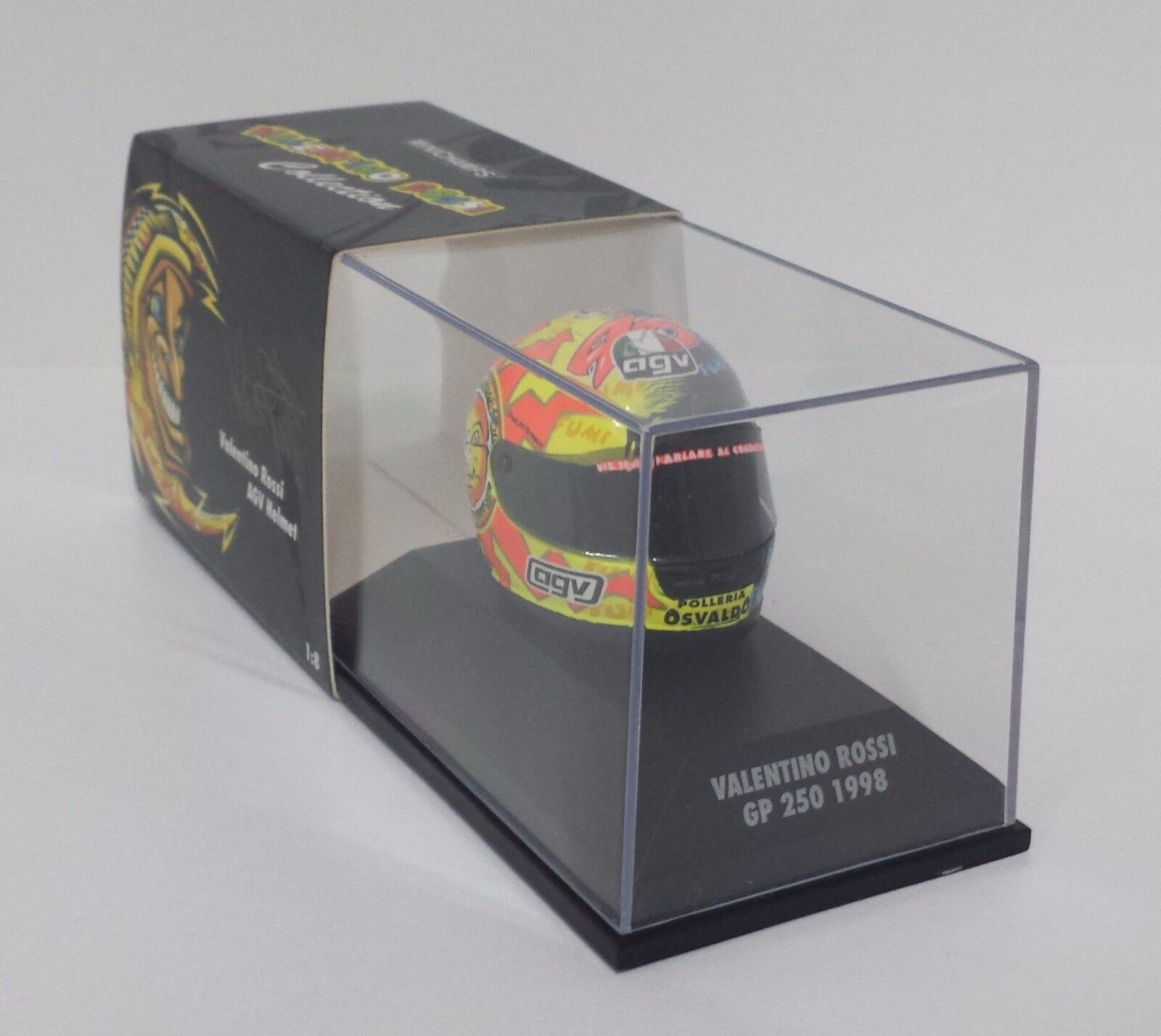 MINICHAMPS VALENTINO ROSSI MODÈLE AGV CASQUE HELMET 1 8 MOTO GP 250 1998 NEW