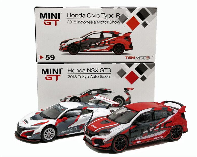 1 64 MINGT Honda Civic Type R (FK8) NSX GT3 2018 modelllllerlerl för Die -Cast Bil