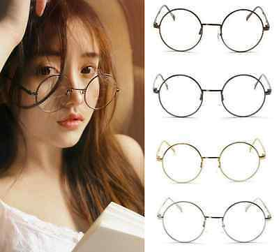 Unisex Classic Metal Frame Clear Round Lens Glasses Nerd Spectacles Eyeglass Hot