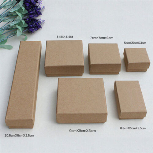 Retro Kraft Paper Case Ring Necklace Earrings Bracelet Jewelry Gift Box Hx cx