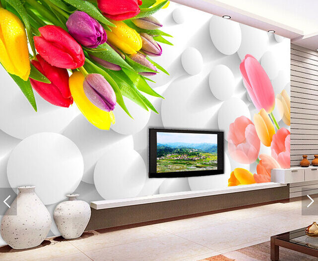 3D Farbe Tulip Bouquet Dew Paper Wall Print Wall Decal Wall Deco Indoor Murals
