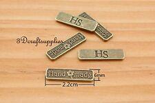 metal label tag HANDMADE charm alloying anti brass 22 mm x 6 mm 50 pieces H67