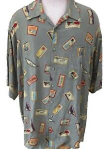 IZOD-mens-Hawaiian-shirt-size-2XL-green-palm-tree-sun-pineapple-rayon-pocket