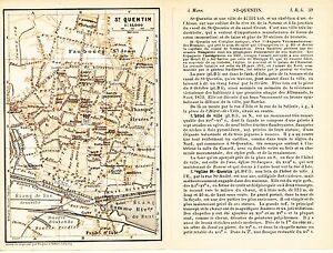 02 Saint Quentin 1895 Plan Ville + Guide (4 P) Hôtels Champs-elysées Bains/somme 49p0wlts-08003211-959241654