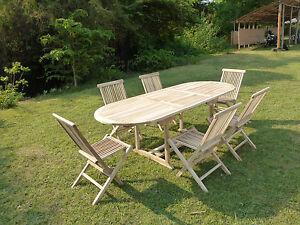 Detalles de Salon de jardin avec table ovale MAHUI avec 6 chaises pliantes  JALANG