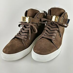BUSCEMI Ronnie Feig Brown w/ Gold Detail Italian Leather Sneakers Size 45