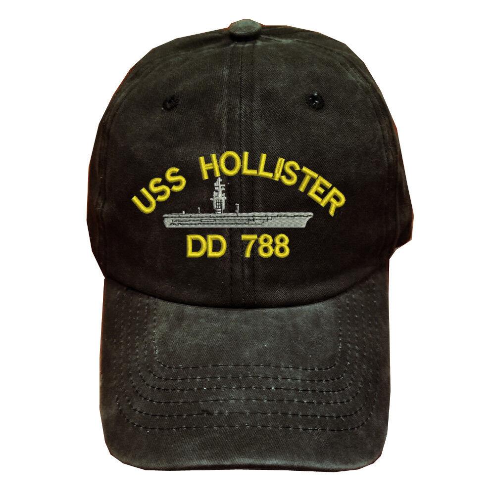 Black Washed HOLLISTER cotton cap dad hat USS HOLLISTER Washed DD 788 BATTLESHIP 18f81b