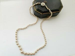 "VINTAGE 18"" Faux Pearl BEAD NECKLACE  W/ Sterling Silver Clasp"