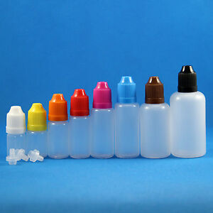 Lot-100-Pcs-3-50ml-Plastic-Dropper-Squeezable-Bottles-Child-Proof-Safe-White-Cap