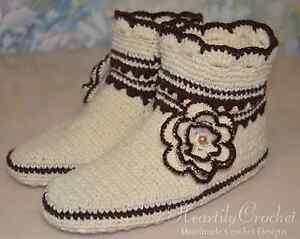 4c7a6c987508 Image is loading handmade-womens-crochet-slippers-knitted-socks-wool-slipper -