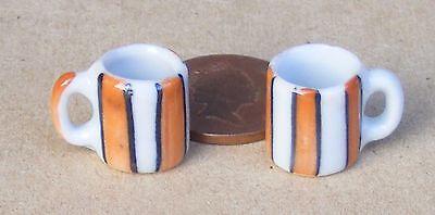 1:12 Scala 2 Bianco Tazze In Ceramica Con Motivo A Righe Casa Delle Bambole Accessorio Cucina- Una Grande Varietà Di Merci