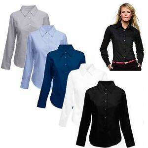 Ladies-Womens-Pinpoint-Oxford-Long-Sleeve-Shirt-Work-Formal-Casual-Size-8-24-new