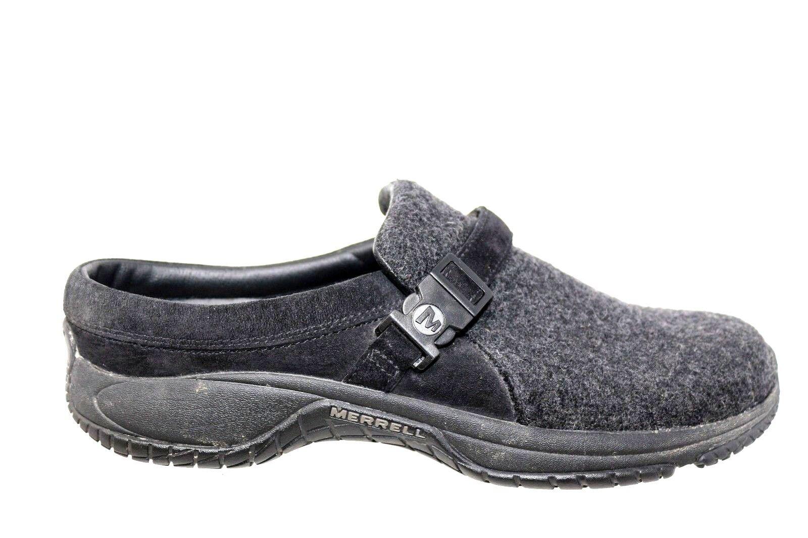 MERRELL Encore Groove Wool Black Wool Slip On Clog Shoes Women's Size 11