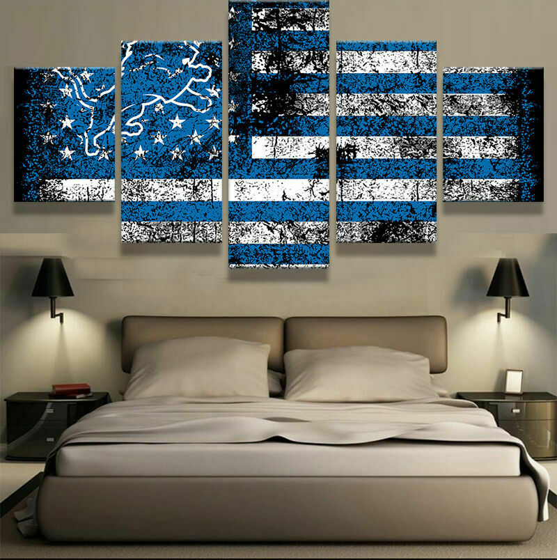 Detroit Lions Rustic Flag Five Piece Framed Canvas Home Decor Wall Art 5
