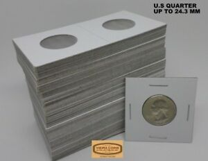 100 Cardboard 2 x 2 Coin Holder Flips for US Quarters 24.3mm Storage Box