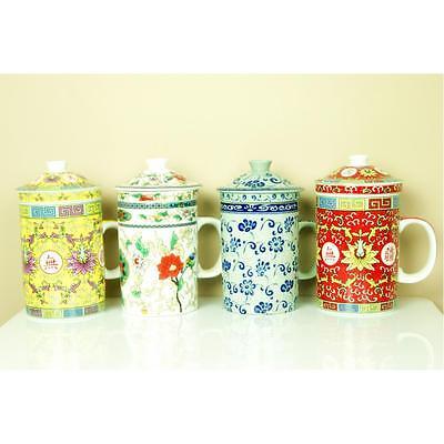 Quality Traditional Chinese Oriental Elegant Tea Lid Leaf Filter Infuser Cup Set